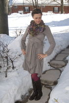 silver Anthropologie dress - purple Anthropologie scarf - pink kHOLES tights - b