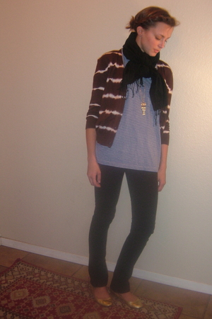 brown Kors by Michael Kors cardigan - blue thrifted t-shirt - black Seven For Al