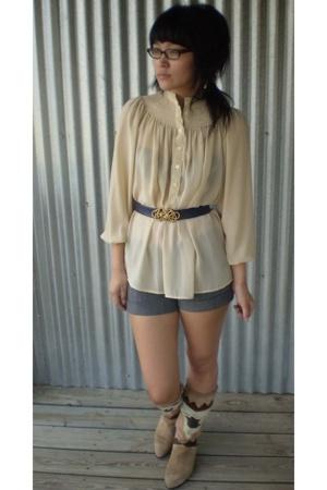 gold vintage blouse - beige vintage boots - blue vintage belt