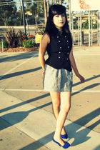 black f21 vest - silver f21 skirt - blue YSL shoes