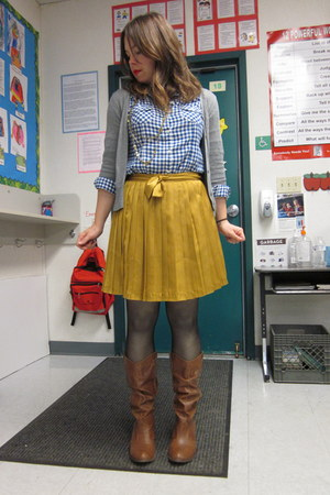 brown Target boots - blue Old Navy shirt - gold Gap skirt - heather gray Target