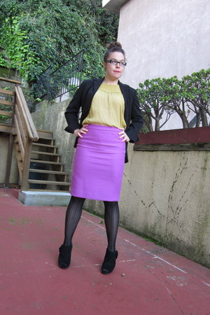 magenta JCrew skirt - chartreuse H&M top