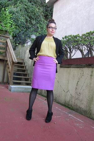 magenta JCrew skirt - chartreuse H&M top