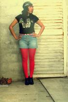black rockware t-shirt - pink JCpenney tights - black boots - Arizona shorts