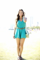 Never Let Go Romper in Teal and Coral