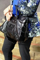 blue watercolor calvin klein blazer - black moto Besso bag
