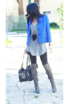 heather gray over the knee boots - blue thrifted blazer - heather gray Target sh