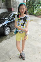gray Manels boots - light yellow EDC shorts - white giordano top