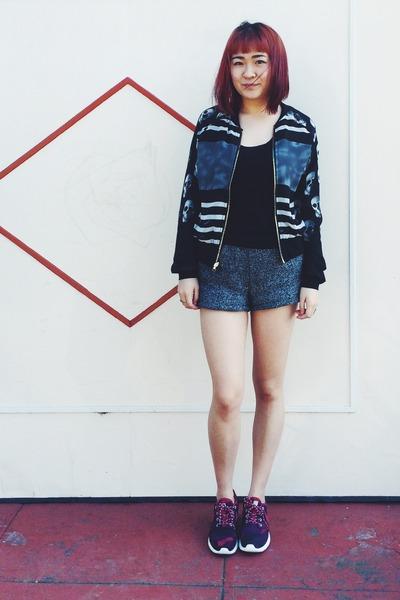 bomber jacket - chictopia shop shorts - roshe run nike sneakers