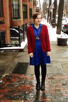 blue vintage dress - red Gina Benotti cardigan - black Manguun boots - gold rene