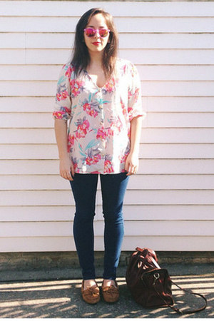 ivory Lulus blouse - tawny Minnetonka shoes - navy Gap jeans - nude BP shirt
