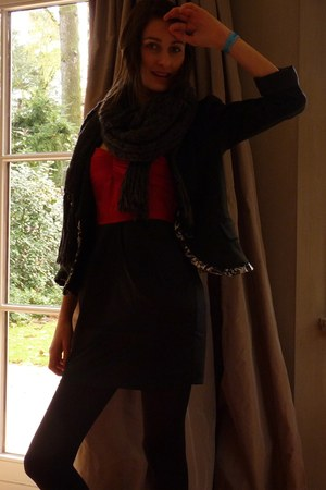 black nolita blazer - ruby red H&M dress - dark gray H&M scarf