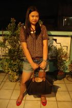 blouse - shorts - longchamp purse - shoes