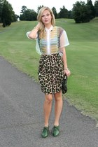 sheer asos shirt - metallic asos bag - cheetah Karen Kane skirt