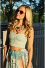 Maxi-skirt-vintage-skirt-crop-top-american-eagle-top-bib-h-m-necklace