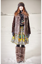 green DIY skirt - heather gray fursuede coat vintage coat