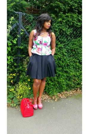 asos bag - Peacock skirt - Zara heels - Topshop top