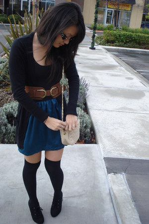 black Mossimo cardigan - black American Eagle top - teal Forever 21 skirt - tawn