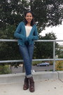 Combat-cathy-jean-boots-skinny-aeropostale-jeans-teal-salvation-army-sweater