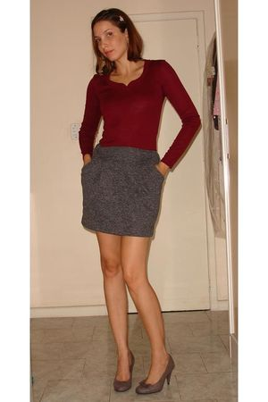red Renner shirt - gray Renner skirt - brown c&amp;a shoes - silver BIJU accessories