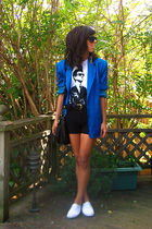 white Keds shoes - black shorts - white t-shirt - blue vintage blazer