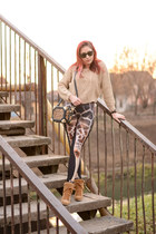 romwe jumper - romwe leggings - Ray Ban sunglasses - Zara sneakers
