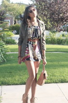 printed Pixie dress - army green safari Charlotte Russe jacket