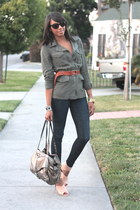 army green safari Charlotte Russe jacket - heather gray botkier bag - nude Zara