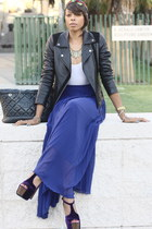blue pleated asos skirt - purple Jessica Simpson shoes