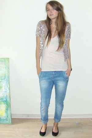 blue boyfriend Amisu jeans - black ballet flats H&amp;M shoes - silver Eda Mae shirt