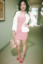 red tank dress Zara dress - white Forever 21 jacket - nude Sergio Rossi bag