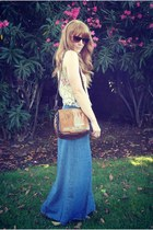 brown vintage leather bag - Aldo sunglasses - sky blue denim maxi wrap skirt