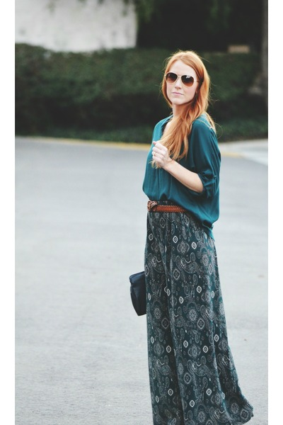 dark green high low blouse - pants