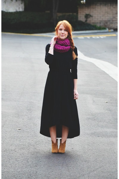 ankle Candies boots - dress - infinity scarf - vintage cuff bracelet