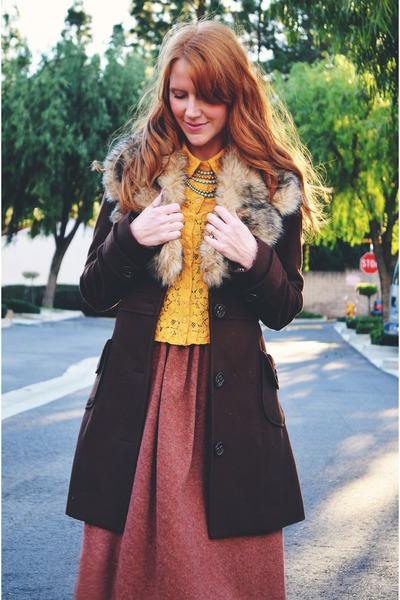 dark brown coat - mustard lace blouse - coral vintage skirt