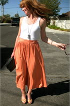 white American Apparel top - orange skirt - shoes - purse - Tulle 4 Us necklace