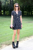 black floral print vintage dress - black Jeffrey Campbell shoes
