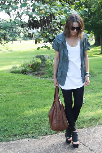 green Forever 21 jacket - black Seventh Door leggings - brown deena and ozzy pur