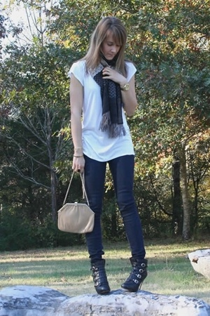 Lux shirt - bare accessories scarf - forever 21 pants - vintage purse - Nine Wes