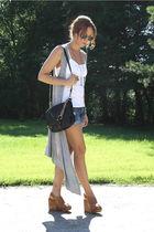 silver MinkPink cardigan - blue Victorias Secret shorts - brown Jeffrey Campbell