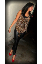 red suede Guess heels - black leather G by Guess leggings - bronze cheeta blouse