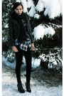Green-plaid-shirt-black-faux-leather-jacket-black-velvet-leggings-black-sc