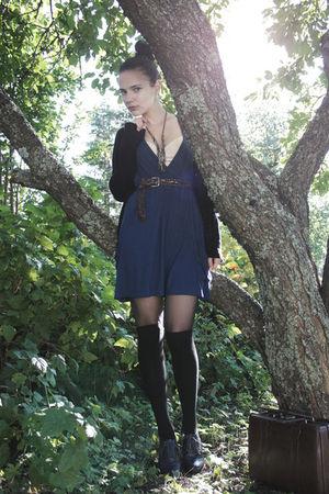 blue Cubus dress - brown Cavalet bag - blue via Nellycom shoes - brown vintage b