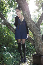 blue Cubus dress - brown Cavalet bag - blue via Nellycom shoes - brown vintage b