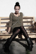 green BikBok dress - black BikBok tights - silver Random marked necklace - gray