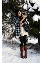 green ellos plaidflannel shirt - brown benelli boots