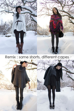 black Monki cape - white knit lindex cape - gray knit Cubus cape