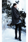 Gray-poncho-sweater-blue-shorts-black-turtleneck-sweater-black-scarf-bla