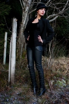 black KappAhl blazer - black GoJane shoes - black H&M hat