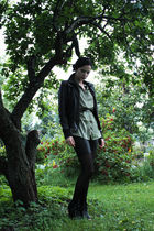 green Bik Bok boots - black Cubus jacket - black Bik Bok shorts - black Bik Bok